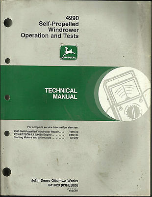 John Deere 4990 Self-Propelled Windrower Operation And Tests Technical Manual