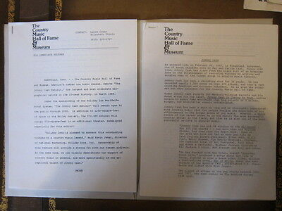 JOHNNY CASH Press kit 14 pgs Country Music Hall of Fame