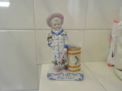 Old Porcelain Match Striker Fairing READY TO START Young Girl  Dog Conte Boehme