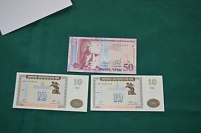 Three Banknotes of Armenia - nice condition
