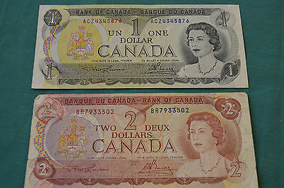 Bank of Canada (Banque Du Canada) One Dollar (1973) & Two Dollar Banknote (1974)