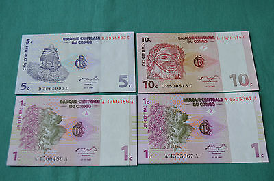 4 x Banque Centrale Du Congo Banknotes 10, 5, 2 and 2 x 1 Centime - all 1997