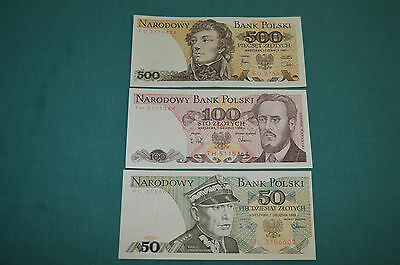 3 x Narodowy Bank Polski Zlotych Banknotes: 500, 100 and 50 in a nice condition