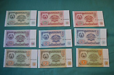9 x TAJIKISTAN Banknotes: 50, 20, 2 x 10, 2 x 5 and 3 x 1 Roubles/Rubles - Nice!