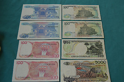 8 x Bank of Indonesia Banknotes: 2 x 1000, 3 x 500, 2 x 100 and a 5000 Rupiahs