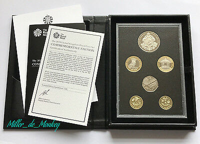 Royal Mint 2014 UK Commemorative Proof Coin Set - RARE Pair Of Floral £1 Coins