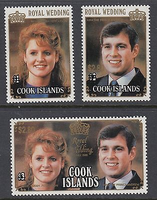 COOK ISLANDS 1987 ROYAL WEDDING $2.80 SURCHARGES, set of 3 Mint Never Hinged