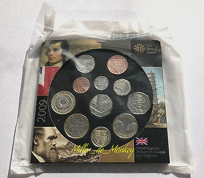 2009 UK Brilliant Uncirculated Coin Set With KEW GARDENS 50p In Mint Sealed Pack
