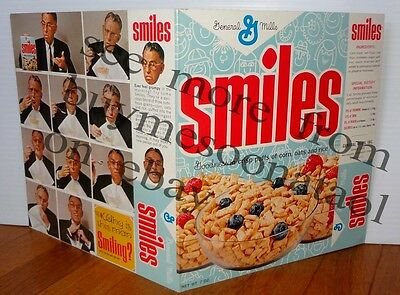 RARE 1966 General Mills Smiles promo Cereal Box with NEW Introductory Food Offer