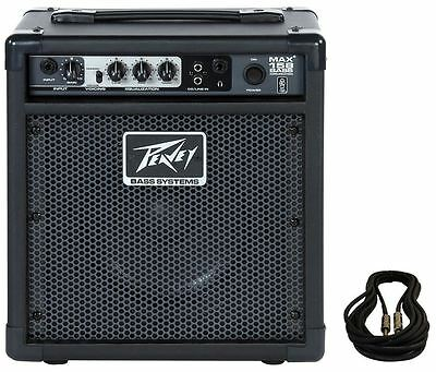 "NEW Peavey MAX 158 8"" 15 Watt Portable Bass Guitar Amplifier Combo Amp+1/4 Cable"