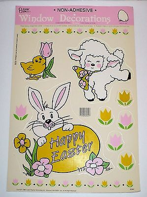 Vintage 1989 Easter Window Clings Sheep Rabbit Chick Impact Inc.