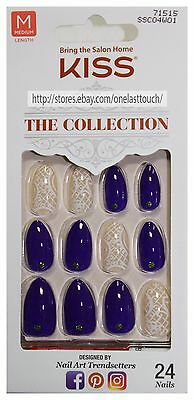 KISS 24 Glue-On Nails BLUE+NATURAL+WHITE The Collection MEDIUM Stiletto #71515