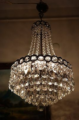 Antique Vintage French  Basket Style Crystal Chandelier Lamp Light 1940's.14 in