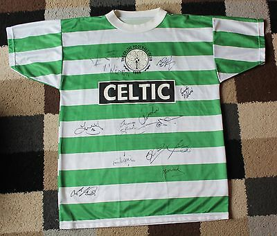 GLASGOW CELTIC FC Hand SIGNED Football SHIRT Autographed x13 Players inc LARSSON
