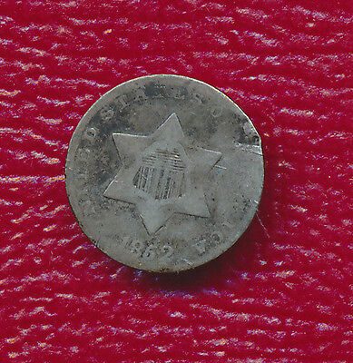 1852 Three Cent Silver **nice Circulated Type Coin**