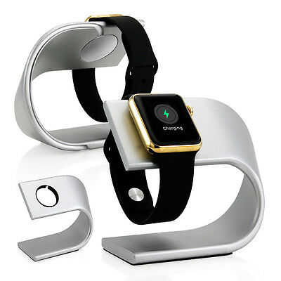 New Silver Aluminum Platform Holder Stand Charging Dock Station for Apple Watch