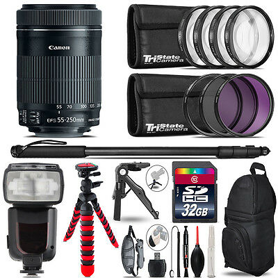 Canon 55-250mm IS STM + Professional Flash + Macro Kit - 32GB Accessory Bundle