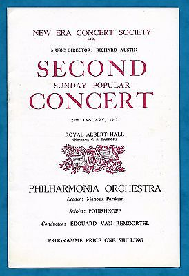 1952 Programme Philharmonia Orchestra Royal Albert Hall New Era Concert Society