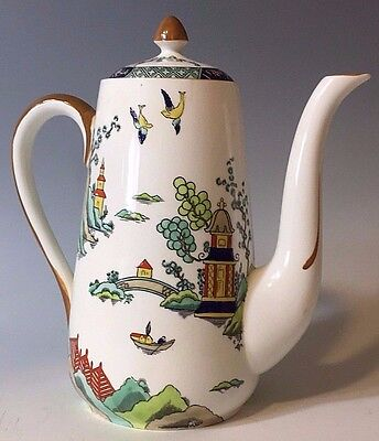 Crown Staffordshire 3 cup TEA / COFFEE POT Chinese WILLOW Ye Old Gaudy Blue !