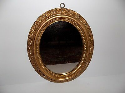 Antique BORGHESE Gold Gilt Plaster HOLLYWOOD REGENCY Italian SIGNED Oval 13.5X11