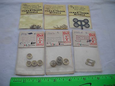 Lot of 6 Clear Creek Models D&RGW Queenposts Car Brake Wheels Chain, On3 Scale