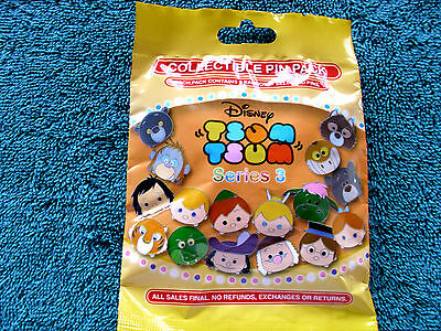 Disney* TSUM TSUM * Series 3 * New & Sealed * 5-pin Collectible Mystery Pin Pack