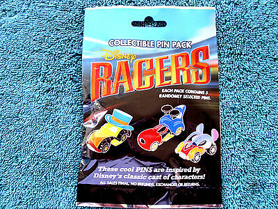 Disney * RACERS - CHARACTER RACE CARS * NEW 5-pin Collectible Mystery Pin Pack