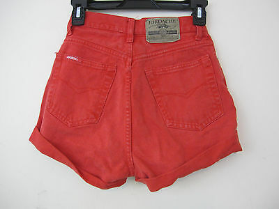 VTG 90s Jordache red cut off retro womens high waist jean shorts sz 5/6