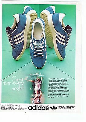 """1970's Adidas """"Great From Every Angle"""" Billie Jean King Tennis Shoe Print Advert"""