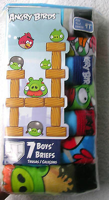 """""""angry Birds!"""" Boy's  Briefs - Seven Pair Pkg.  Size 4T  Nwt"""