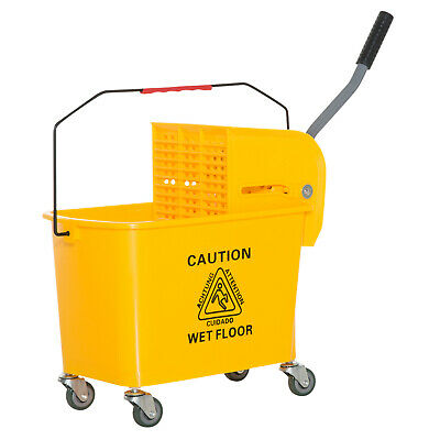 Mini Press Mop Bucket with Wringer 5 Gallon / 20 Quart Rolling Yellow