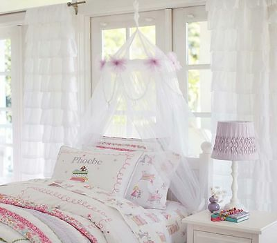 Pottery Barn Kids Classic Girls Tulle Canopy Bedroom Playroom Nursery White