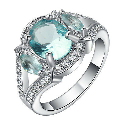 Gorgeous Women Blue Sapphire 18K White Gold Filled Wedding Ring Jewelry Gift New