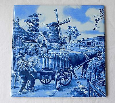 Vintage Hand Decorated Dutch Tile By Ter Steege. Blue & White Farmyard Scene.