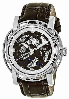 Reign Mens Stavros Automatic Skeleton Dial Crocodile-Embossed Leather: REIRN3701