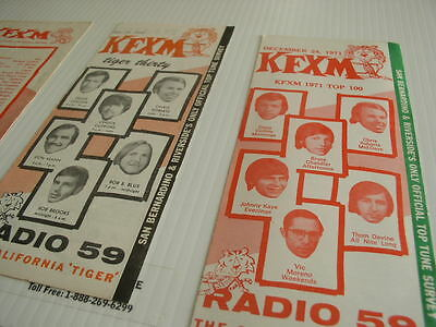 Lot Of 3 Kfxm Top 100 Singles From; 1970, 71, 72  , Free Shipping In The Usa