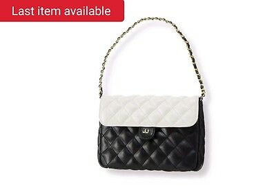 NWOT Janie & Jack Quilted Colorblock Purse Black White Designer HTF Woven Chain
