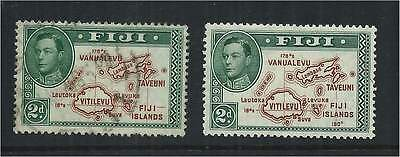 Fiji 1938/40 2d Die 1 & 2 Without & With 180 Degrees SG253/4