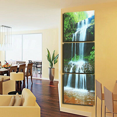 3Pcs HD Waterfall Framed Canvas Picture Print Paintings Home Wall Art Decoration