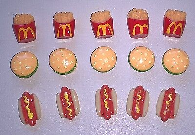 Dolls House Sylvanian Barbie Miniature FAST FOOD McDs Fries Burger Hotdog Bundle