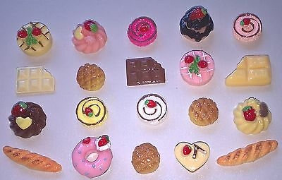 Dolls House Sylvanian Barbie Miniature Food Cake Choc Bread Bun Bundle 20 Items