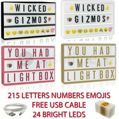 A4 Cinematic Light Up Letter Emoji Box 24 Led Sign Wedding Party Cinema Shop Usb