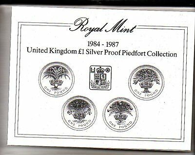 ROYAL MINT 1984-1987 SILVER PROOF PIEDFORT 4 x £1 COIN SET BOXED with COA F16
