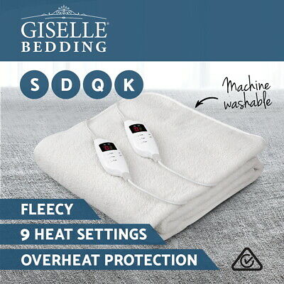 Giselle Bedding Fleecy Electric Blanket Heated Warm Fully Fitted S/ D/ Q/ K