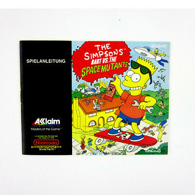 original Anleitung zum NES Spiel THE SIMPSONS - BART VS. THE SPACE MUTANTS