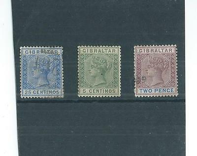 3 Used Queen Victoria Gibraltar Stamps