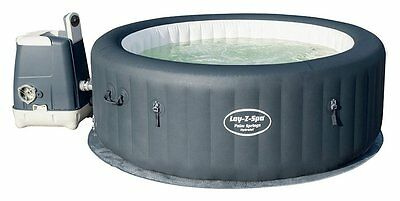 Bestway Lay-Z-Spa Palm Springs 6 Person Round Inflatable Heated Hot Tub - Grey
