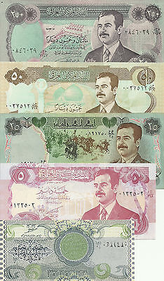 W-03-4, Middle East Five Note Lot,see Below,all Uncirculated