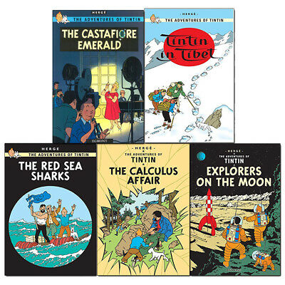Adventures of Tintin Series 4 Collection 5 Books Set Explorers on the Moon NEW