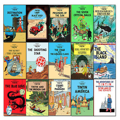 Adventures of Tintin 15 Books Collection Series 1 to 3 Set Cigars of the Pharao